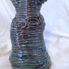 Blue Vase made using the coil method with clay.