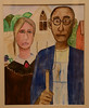 This is one of my first watercolor pieces--my rendition of the famous American Gothic couple.  My sister lives on his land in Iowa.