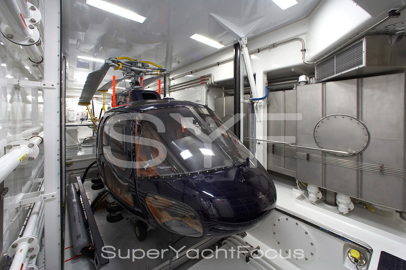 Helicopter in yacht hanger