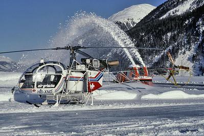 HB-XND SA315B Air Grischa @ Samedan Switzerland 23Dec91