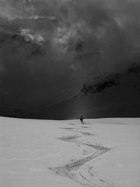 finding solitude in bizarre light, the 1800m vertical drop of Porpoise, Selkirk Mountains