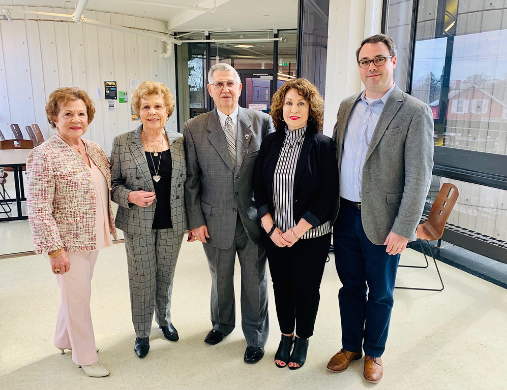 . The Hellenic Culture & Heritage Society, from left, sisters Eve Soroken and Frances Cassidy of Lowell, Lewis Demetroulakos of Chelmsford, President Fotine Panagakos of Lowell and Paul Deen, assistant professor of Hellenic studies.