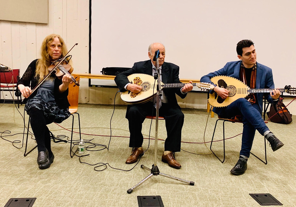 . The terrific trio performs �  from left, Beth Bahia Cohen of Watertown on violin, and laouto players Christos Zotos and Vasilis Kostas of Greece.
