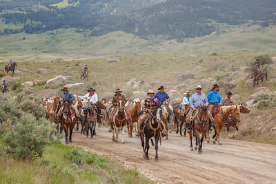 "When they bring their horses back from winter pasture each year, the Hell's a""Roarin' Outfitters run the horses from the Gardiner, Montana fair grounds 16 miles up Crevice Mountain to the Hell's A""Roarin' Ranch.  This photos took first place in the People/Advanced category in the 2018 Big Sky Montana Fair photo contest"