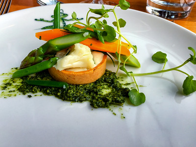 Vegetable tartlet with morel cream and asparagus caviar