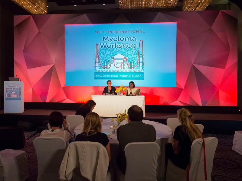 Tracy King, MM, and Nileema Sharad Shingade, RN speak during the opening session of the 3rd International Nursing Program