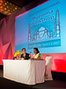 Tracy King, MM, and Nileema Sharad Shingade, RN speak during the opening session of the 3rd International Nursing Program