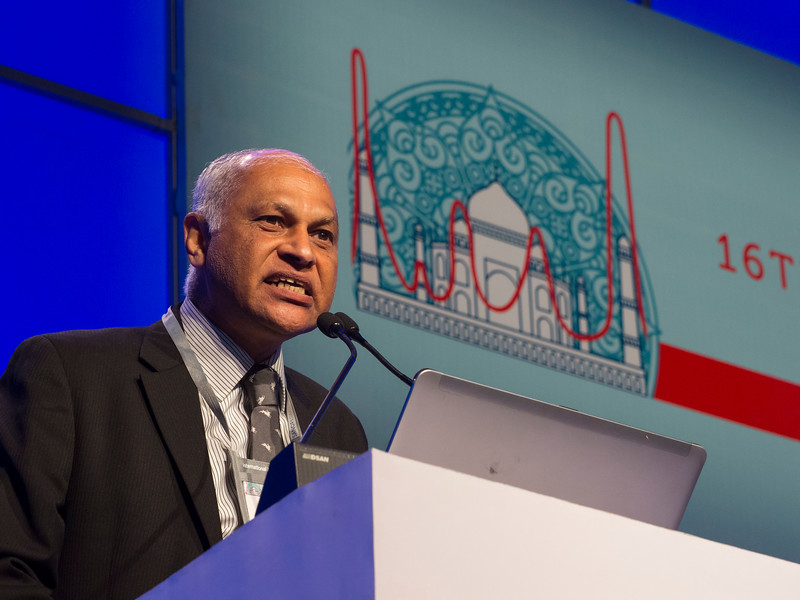 Mammen Chandy, MD gives a keynote lecture during the opening ceremonies