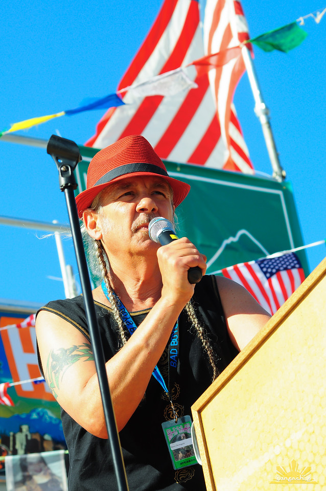 Steve DeAngelo of Harborside Medical Center in California speaks on Main Stage at Seattle Hempfest 2012.  Photo by INNERCHIE