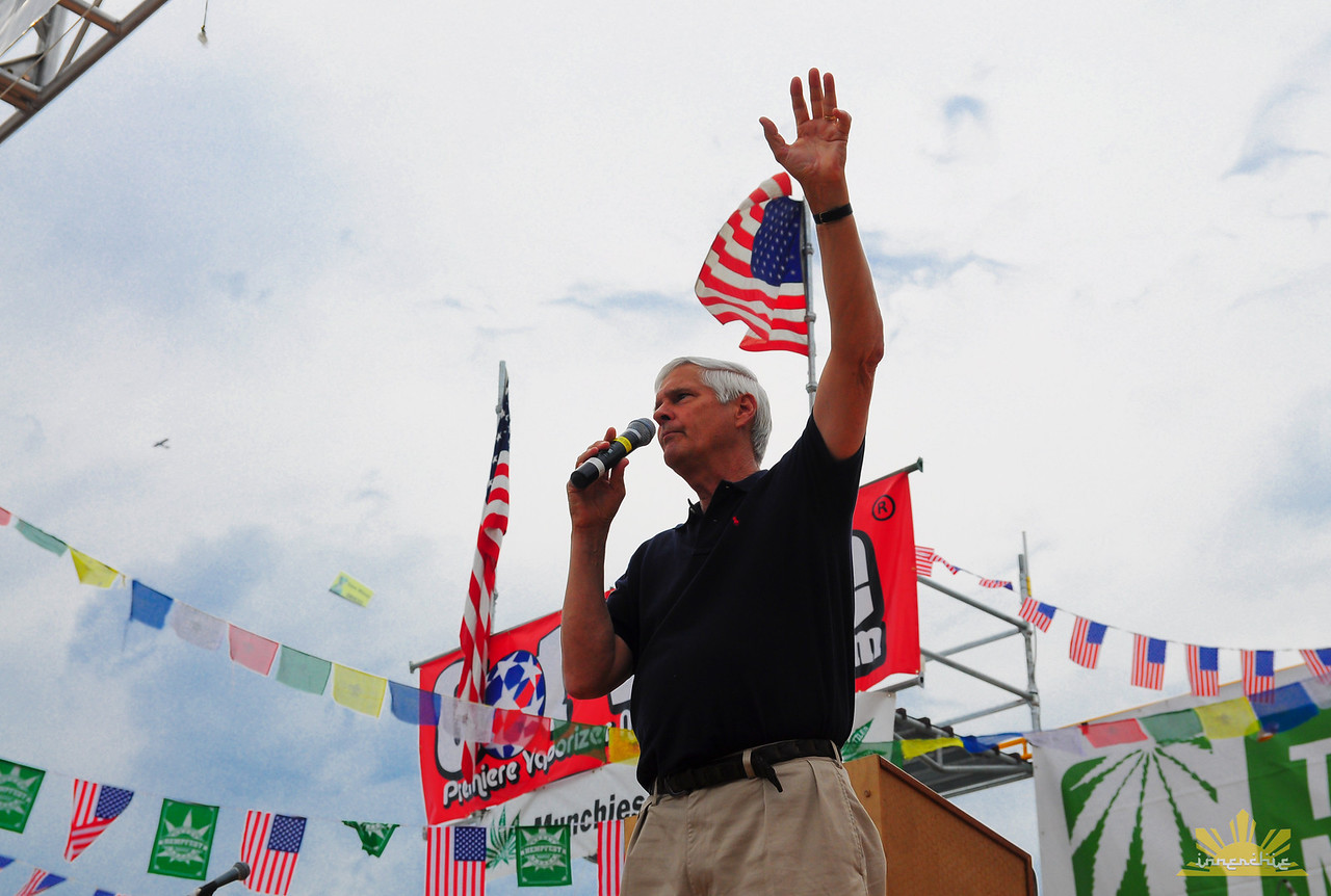 Presidential Candidate ____ speaks on Main Stage at Hempfest 2012.   Photo by INNERCHIE