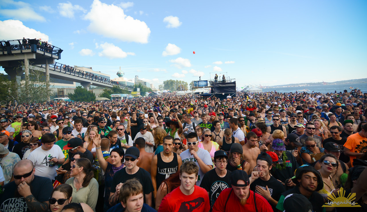View of the Seattle Hempfest crowds from Share Parker Main Stage.   Photo by INNERCHIE