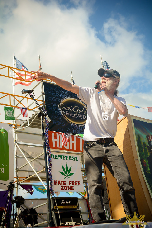 High Times magazine Associate Publisher Rick Cusick guest emcees at Seattle Hempfest Main Stage each year.   Photo by INNERCHIE