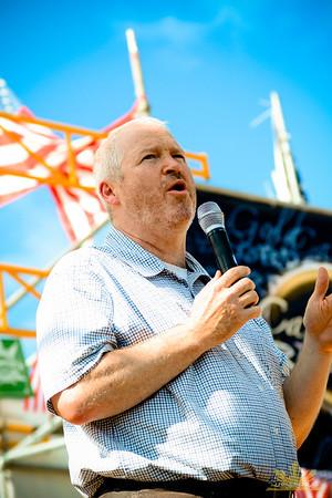 Seattle Mayor Mike McGinn speaks on Main Stage at Seattle Hempfest 2013.  Photo by INNERCHIE