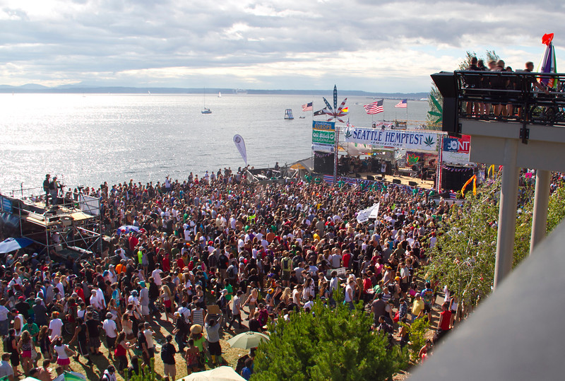Overview of the crowds in front of Share Parker Main Stage, one of seven stages presenting music and speakers each year.  Photo by Janis Marie