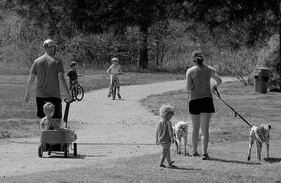 Four kids, 2 dogs, and a wagon at Highland Lake Park