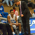 Eastern coach David Henley had a chat with Kobey Jones on the bench.