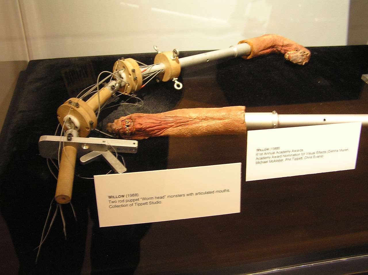 The Siskbert (moat monster) rod puppets for <i>Willow</i> (1988). The monsters are only about three inches long!