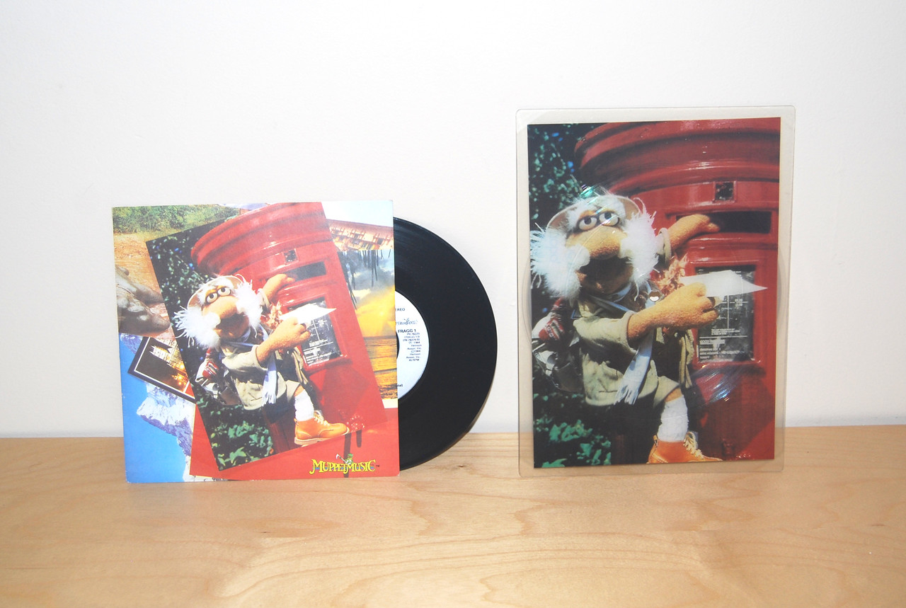 """Fraggle Rock """"All Around the World"""" 45 rpm and postcard picture disc"""