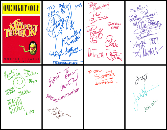 "Prop from ""The Muppets"" Muppet Telethon program, blank inside turned into an autograph book"