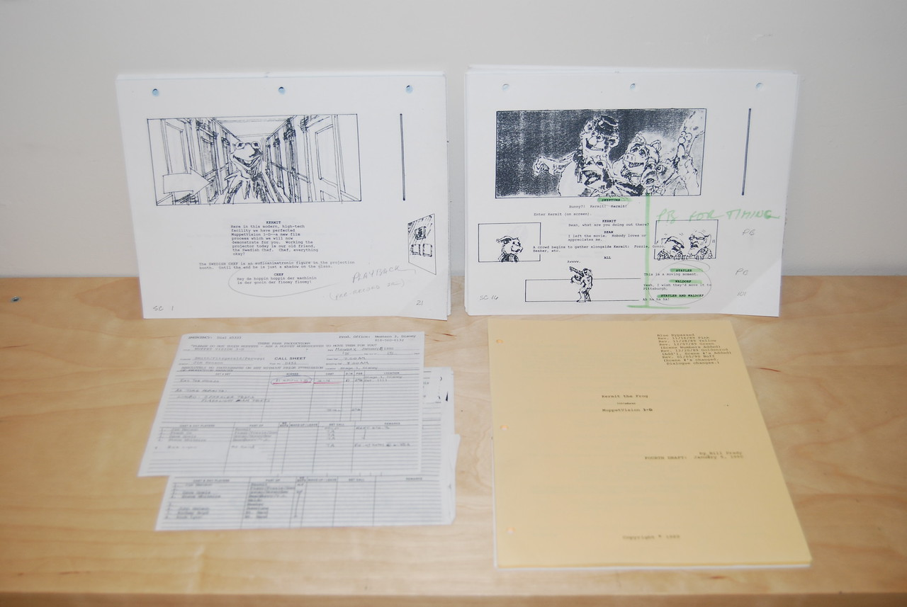 Muppet-Vision 3D shooting script, call sheets, and storyboards 1990