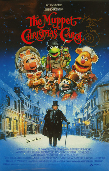 Muppet Christmas Carol poster signed by Steve Whitmire and Kermit the Frog