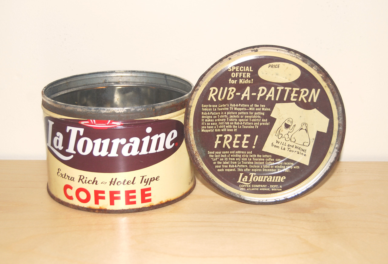 La Touraine coffee can with promotion for Muppet merchandise with WIlkins and Wontkins as Will and Waine 1961