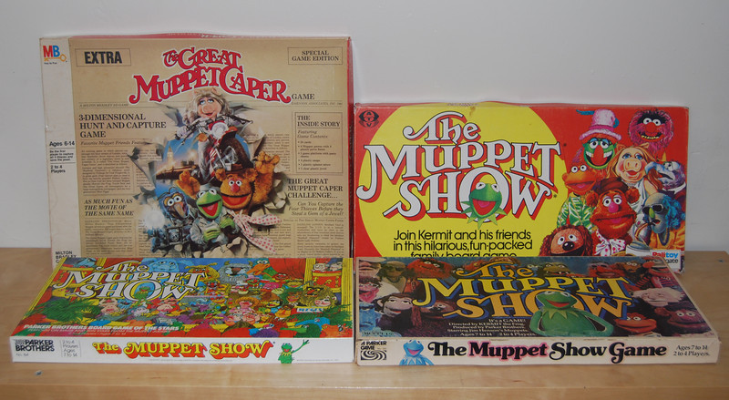 Muppet board games:  The Great Muppet Caper - Hasbro, 1981  The Muppet Show Game - Palitoy, 1977  The Muppet Show - Parker Brothers, 1979  The Muppet Show Game - Parker Brothers, 1977