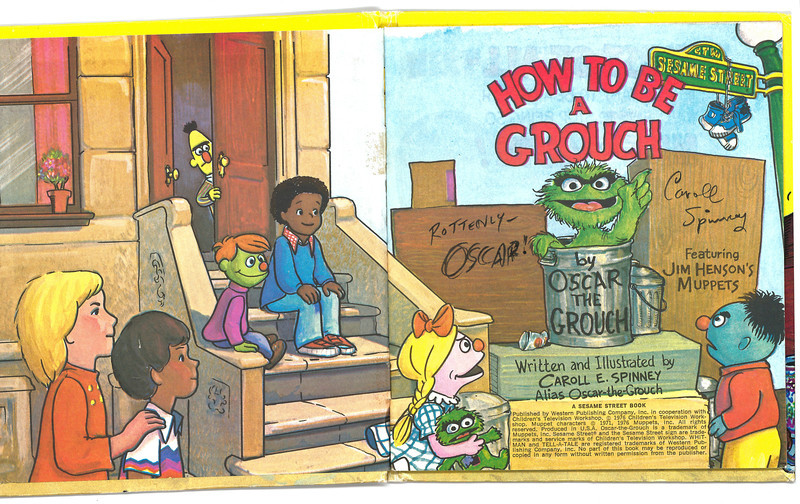 """""""How to Be a Grouch"""" signed by Caroll Spinney and Oscar"""
