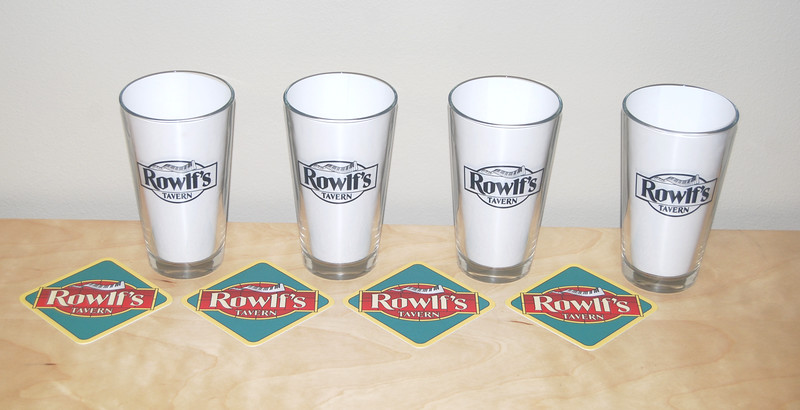 """Rowlf's Tavern pint glasses and coasters, gift to cast and crew of """"The Muppets"""""""