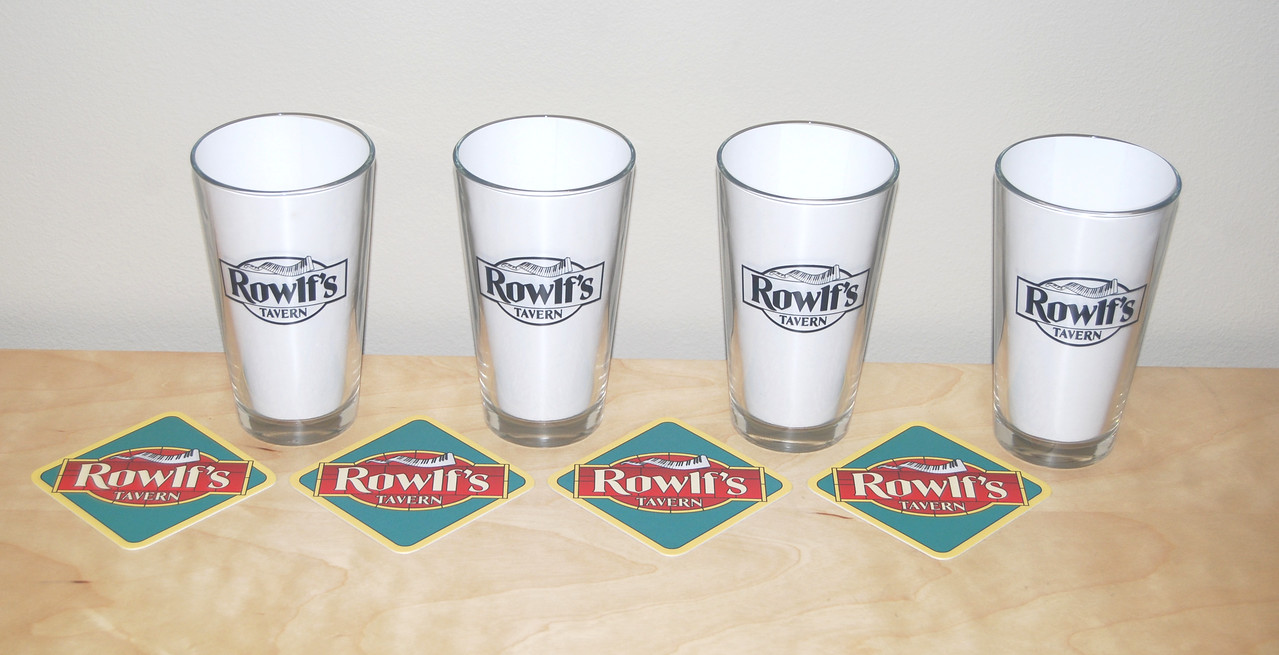 "Rowlf's Tavern pint glasses and coasters, gift to cast and crew of ""The Muppets"""