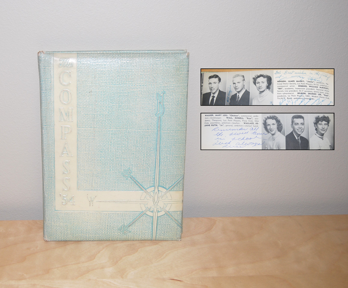 Bob Payne's high school yearbook signed by Jimmy Henson also signed by Russ Wall 1954