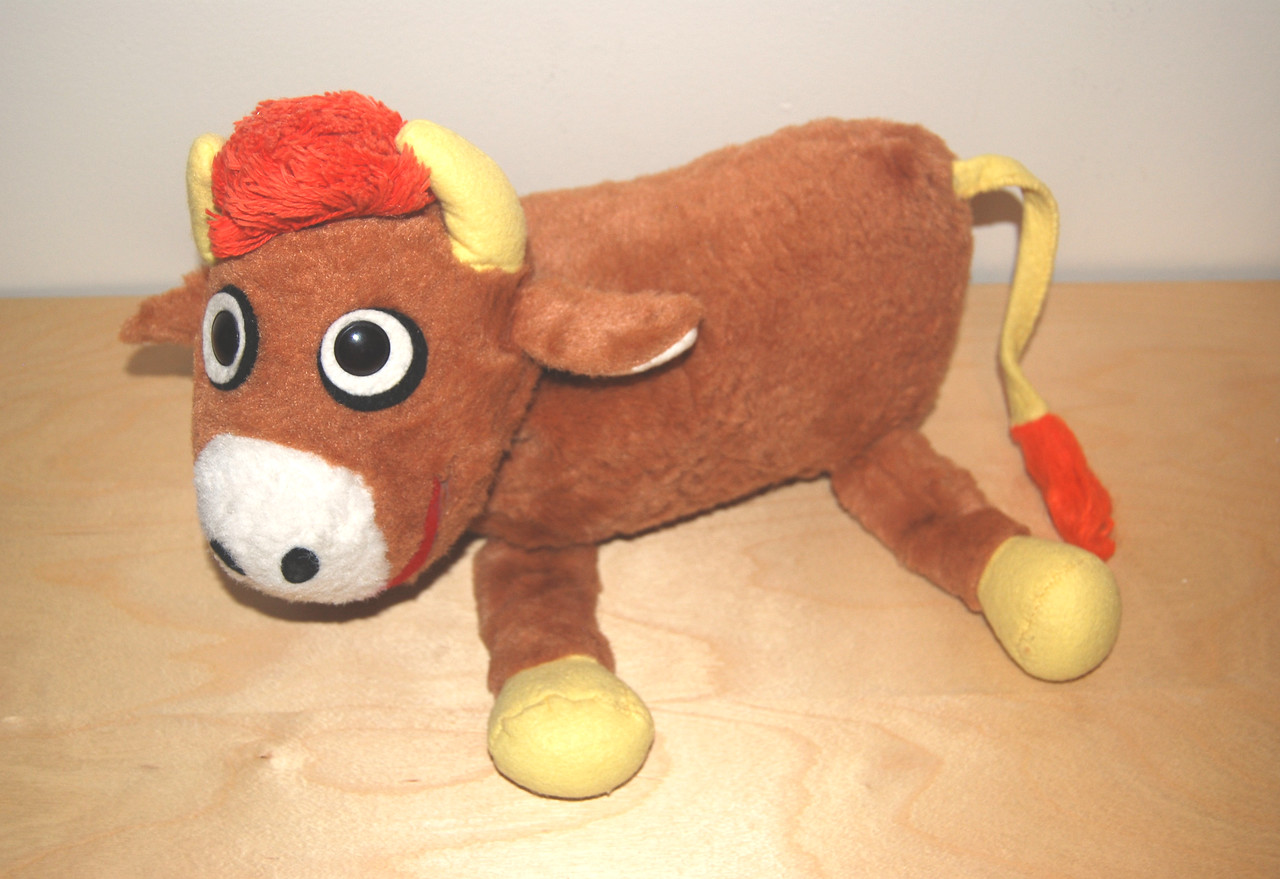 Cloverland Dairy cow plush Produced after Jim Henson created the character for a TV commercial c. 1965 (Not 100% confirmed, but I have high confidence based on the information I've gotten.)