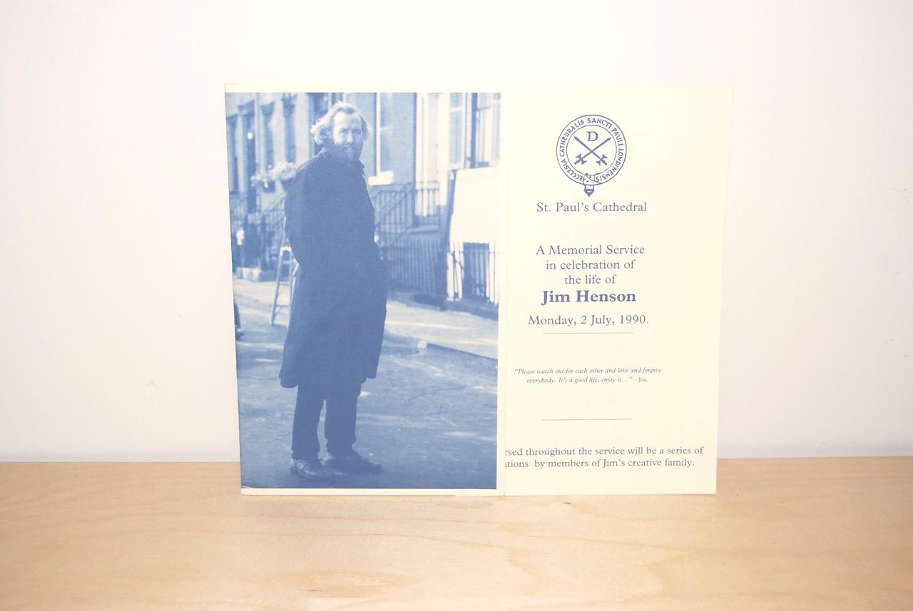 Program from Jim Henson's memorial service in London