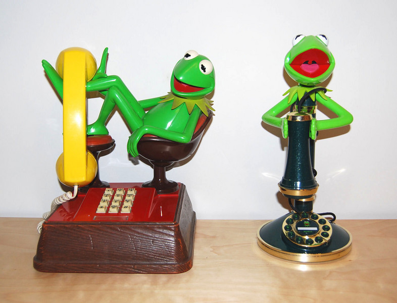 Kermit telephone (touch tone) American Telecommunications Corporation 1983  Kermit candlestick telephone TeleDynamics 1996