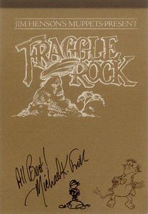 Michael Frith was one of the three main co-creators of Fraggle Rock. He was the conceptual artist, and many of his original drawings can be seen in this replica pitch book (an insert in the Fraggle Rock 2nd season DVD). The cover seemed a little empty, so I asked him to give the Fraggle something to look at. And now there's a Doozer.