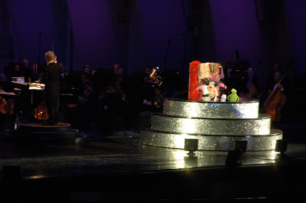Every time Kermit sang about how he's got Miss Piggy, she would disappear behind the divider and change into a more elaborate costume. Kermit got very frustrated with how self-centered she was being, especially considering the song they were singing.