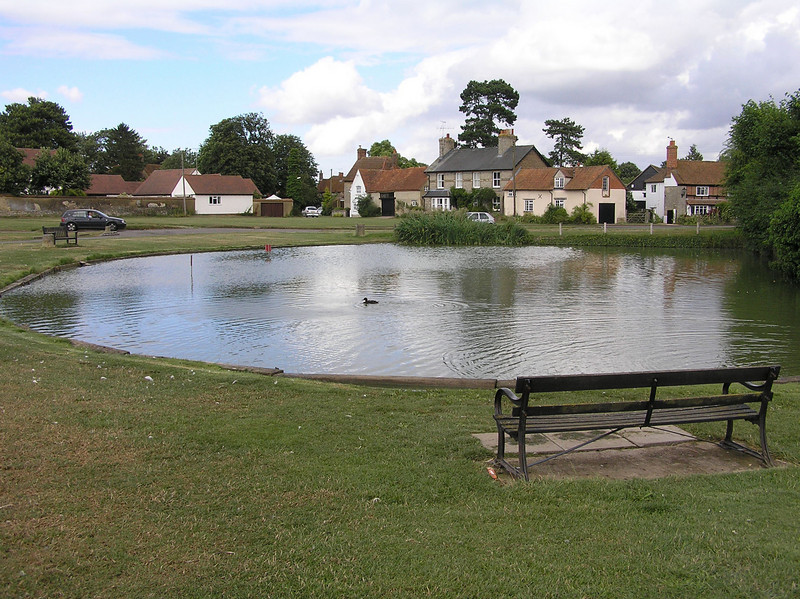 Haddenham church pond<br /> Filming location<br /> The Great Muppet Caper<br /> Landing in England