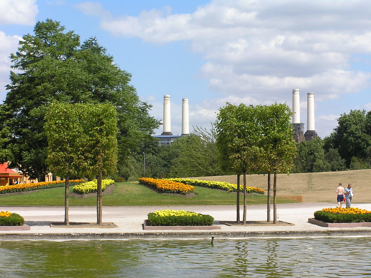 The popular bicycle scene from The Great Muppet Caper was filmed in Battersea Park. Battersea Power Station can be seen in the background.