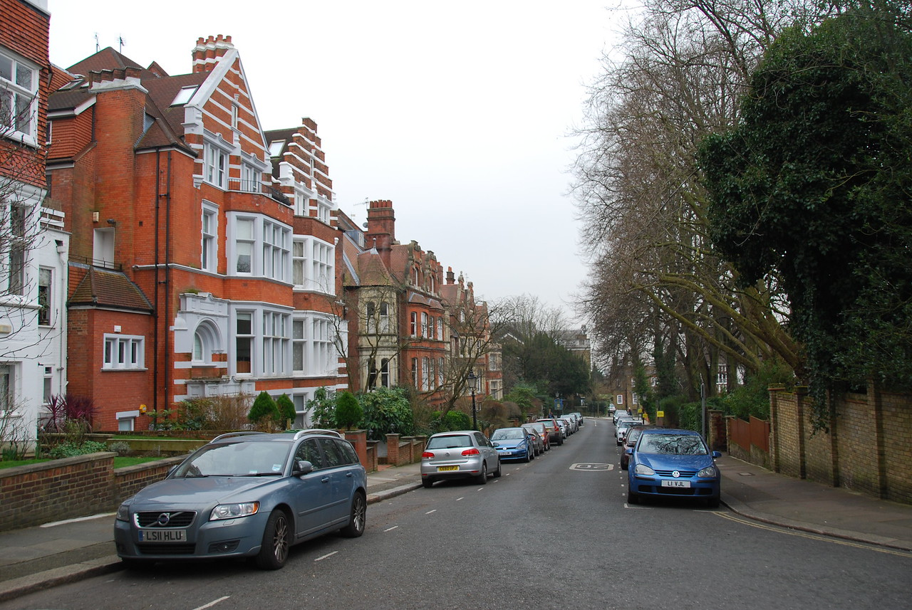 A look down Frognal Gardens, with #12 on the left.