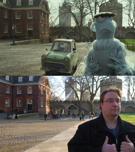 This photo is the start of the 2015 updates. The movie Muppets Most Wanted was released a year earlier, and the entire last act was set at the Tower of London. It didn't really make sense to just post photos of the Tower of London, so I decided to recreate a couple of screenshots from the movie.
