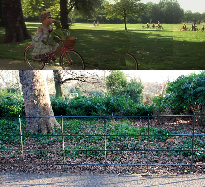 This comparison shows another instance of how changes in the park made it difficult to find specific filming locations. Where there used to be just open grass from one path to the other, there is now a fenced area of vegetation. It's not really noticeable in my photo, but through the bushes I could see the little building that I used as one of my main landmarks.