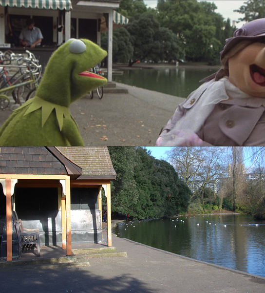 Miss Piggy shows up at the park and gets into an argument with Kermit. Their reconciliation leads to the well-know bicycle scene.<br/><br/>Now that I've taken this photo, I've noticed in the film that you can see one of the chimneys of Battersea Power Station in the background.