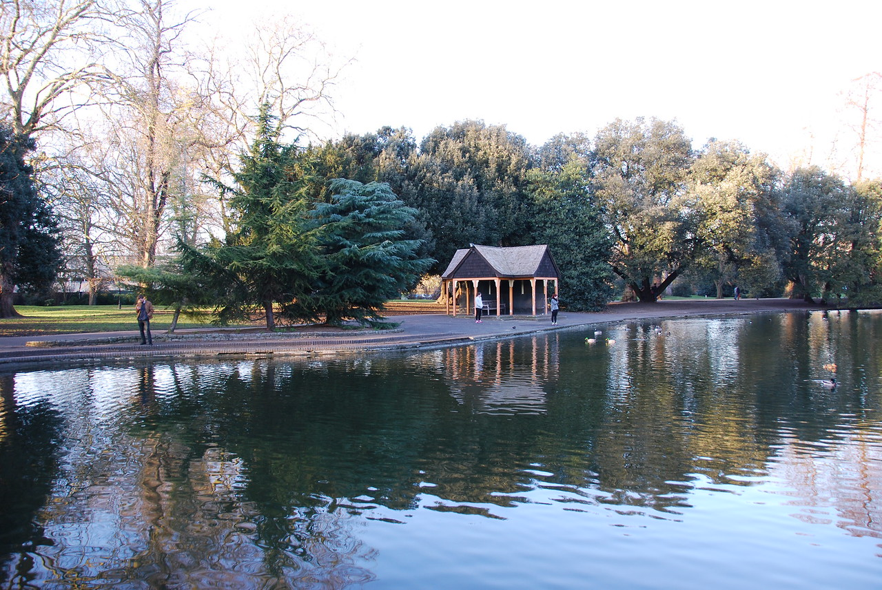 In 2006 I went to Battersea Park to find where some scenes from The Great Muppet Caper were filmed, but I was unable to pinpoint any exact locations. I've been wanting to return ever since, and I finally got my chance! This photo looks across a pond to the spot where a memorable sequence of events kicks off.
