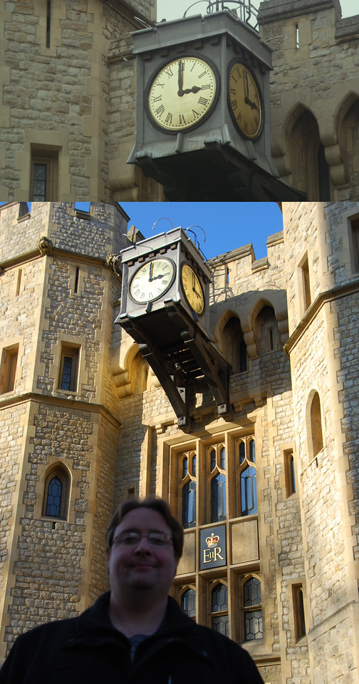 There is a large clock at the top of the building where the Crown Jewels are kept. In the movie this clock showed that Miss Piggy's wedding was at 3:00. I happened to be there at that same time of day.