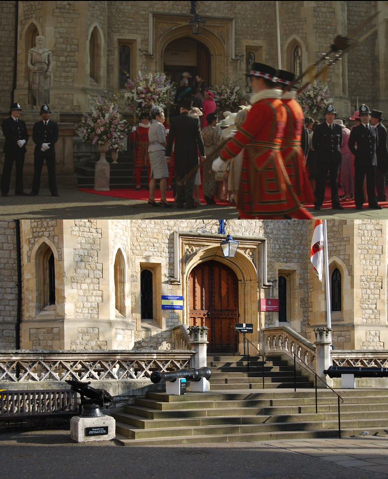 This shot shows what was used as the chapel for Miss Piggy's wedding. However, it is not actually the Tower of London chapel. It's also interesting to note what props are used. It appears that the statue on the left (and its base) were brought in for the movie.