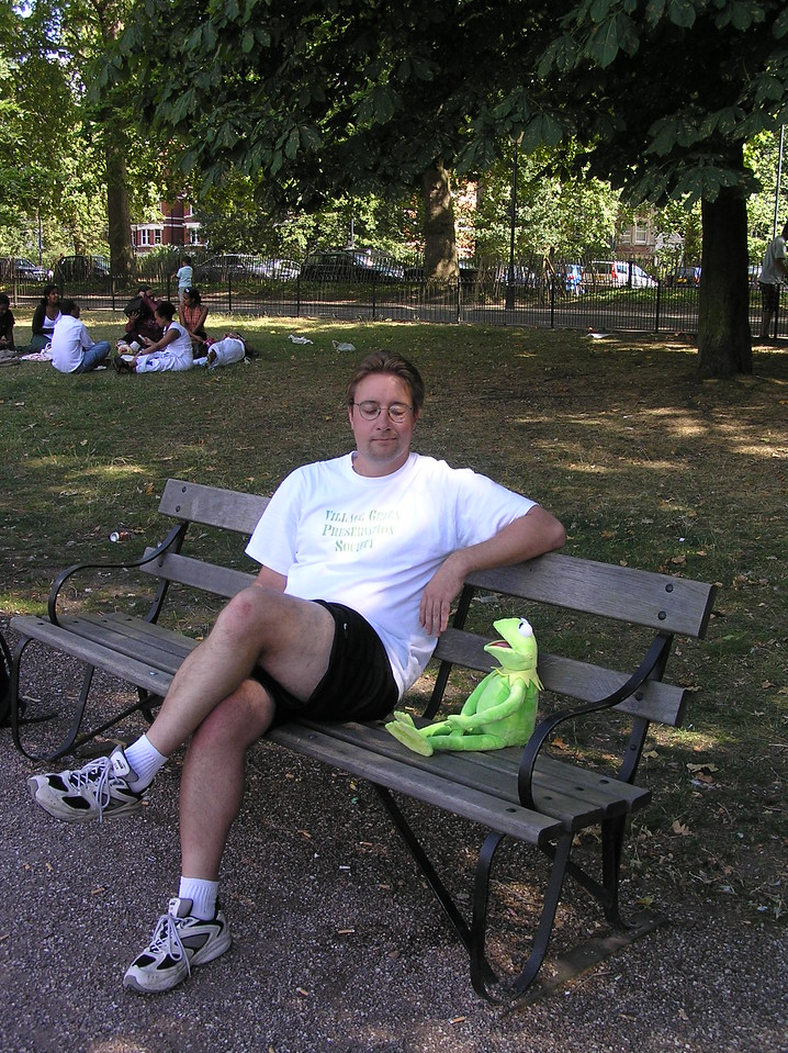 """Would you like to buy a watch?""<br /> <br /> An unflattering photo of me trying to reproduce the Peter Falk scene from The Great Muppet Caper. As you can see, the bench here is much larger than the one in the movie."
