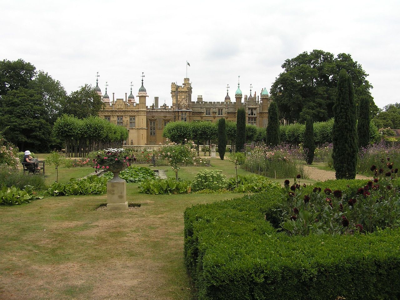 On the opposite side of the house (from what is seen in the movie) are the Knebworth Gardens.