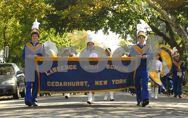 Lawrence HS Marching Band comes down Cedarhurst Avenue.  Lawrence HS Homecoming Parade, October 20th, 2007. Photo by Kathy Leistner