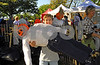 Community service for local HS tudents assisting at the Scarecrow building activity, a fund raiser for the Five Town Child Care Center. Simon Greebal, 12, Woodmere with the scarecrow he made wiith his younger brother Isaac, 8. an Rockhall Museum County Fair, October 21st, 2007. Photo by Kathy Lesitner