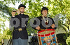 L-R Chris Valenz, Bethpage, on fife, and Thomas Montefinose, Oceanside, on authentic replica of rope tuned snare drum, 119th N.Y. State Volunteers, Company H.  Rockhall Museum County Fair, October 21st, 2007. Photo by Kathy Lesitner